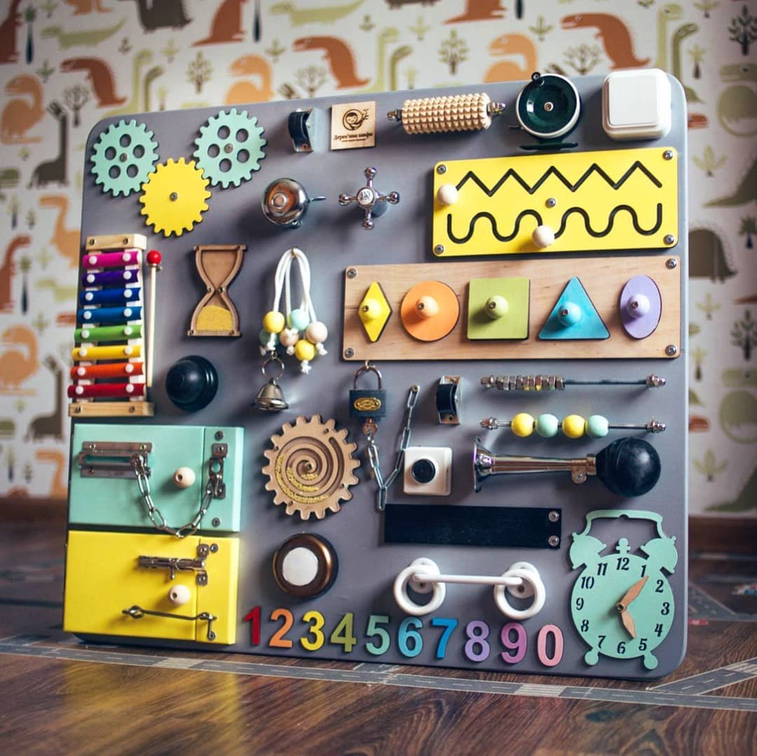 SmartKids-3 European Quality. Handmade Wooden Busy Board, Clever Puzzles, Locks and Latches Activity Board (Grey + Yellow + Blue)
