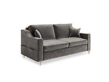 Mazzini Sofas Sofá, Marigold, 2 plazas, Gris Oscuro, 160 x ...