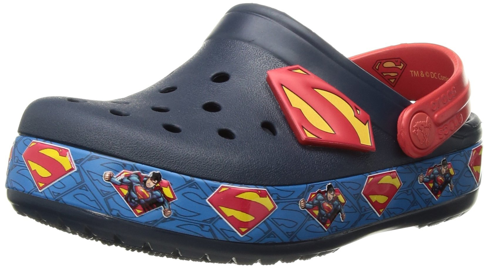 Crocs Boys' Crocband Superman Clog K, Navy, 3 M US Little Kid