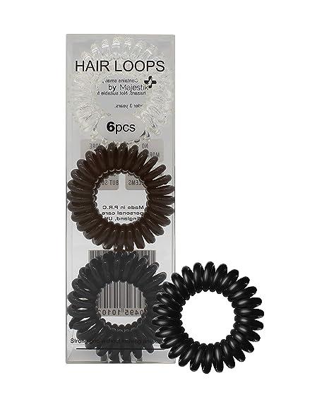 Lazos para el cabello- 6 piezas de espirales para el cabello, sin pliegues, sujetadores de cola ...
