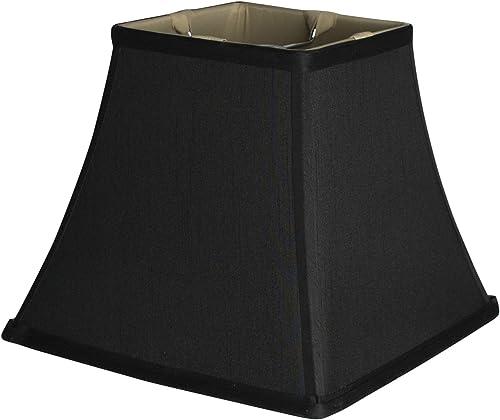 Urbanest Square 5.25x9x8 Softback Bell Lampshade, Black, Faux Silk, Spider