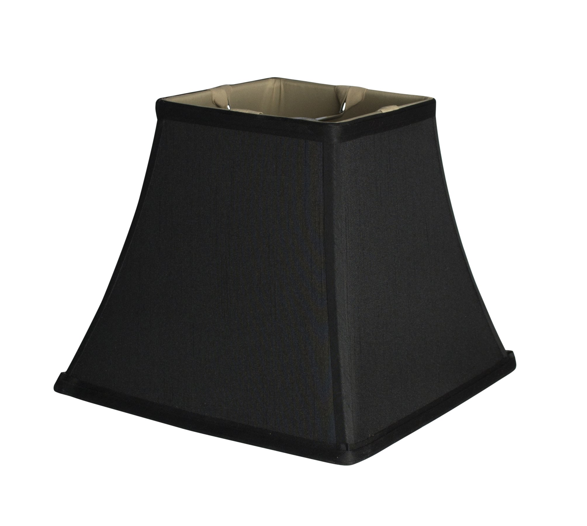Urbanest Square 5.25x9x8'' Softback Bell Lampshade, Black, Faux Silk, Spider by Urbanest