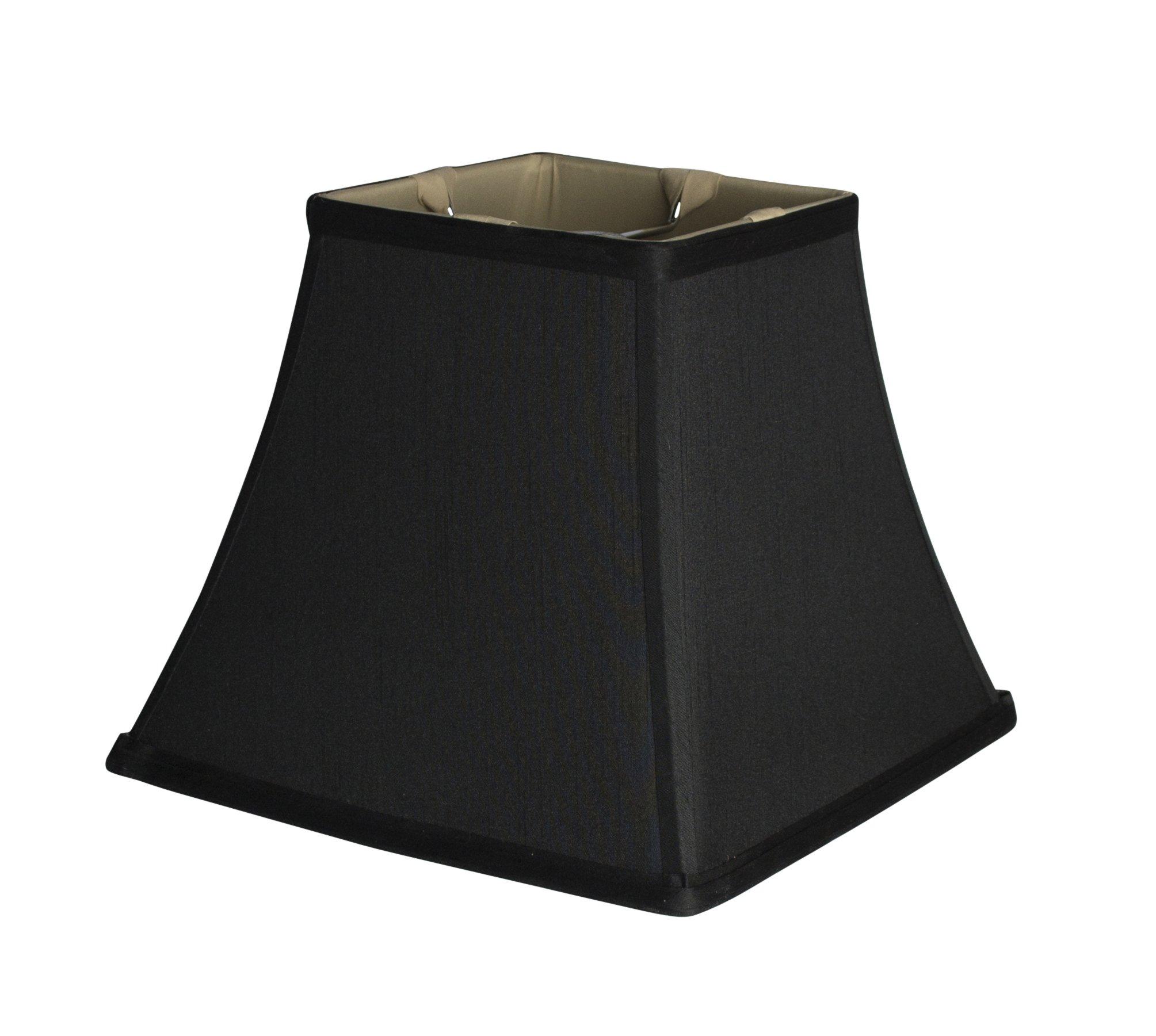 Urbanest Square 5.25x9x8'' Softback Bell Lampshade, Black, Faux Silk, Spider