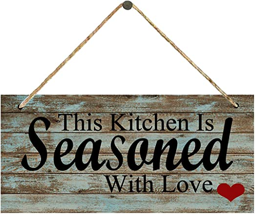 Amazon Com Kitchen Sign Farmhouse Kitchen Decor Wall Rustic Vintage Distressed Wood Kitchen Signs Wall Decor This Kitchen Is Seasoned With Love Kitchen Wall Decor Home Kitchen