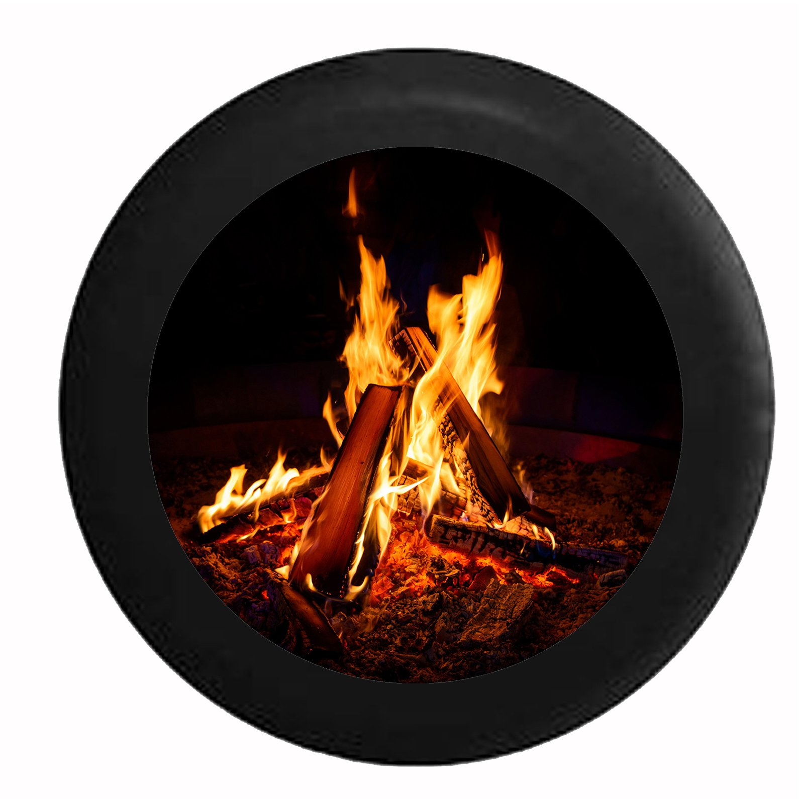 Pike Outdoors Full Color Cracking Campfire with Full Flames Spare Tire Cover fits SUV Camper RV Accessories Black 35 in by Pike Outdoors