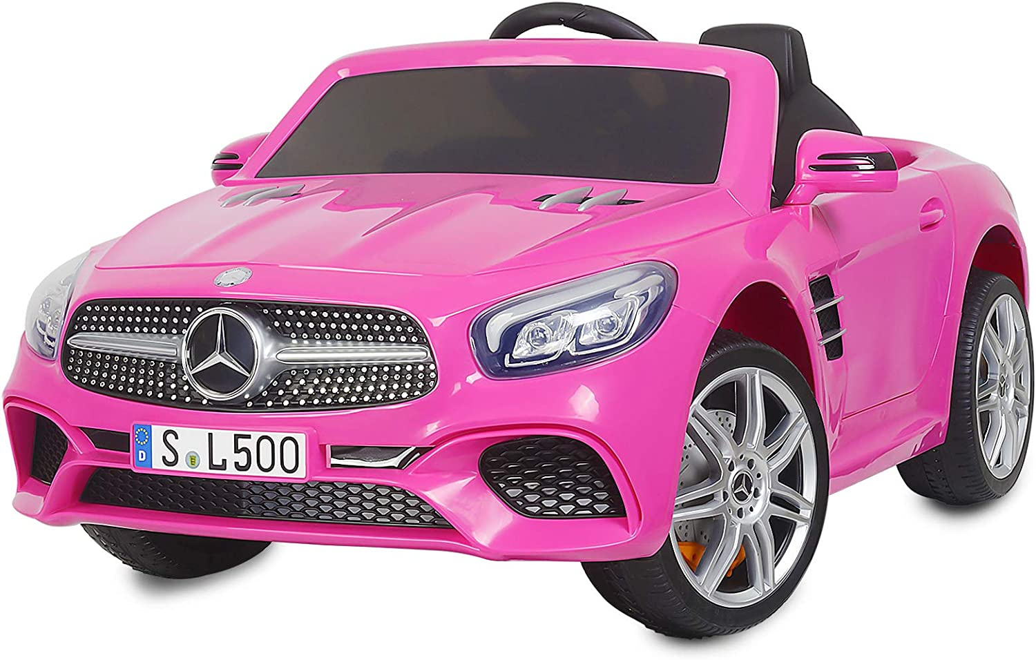 Amazon Com Uenjoy 12v Licensed Mercedes Benz Sl500 Kids Ride On Car Electric Cars Motorized Vehicles For Girls With Remote Control Music Horn Spring Suspension Safety Lock Pink Toys Games