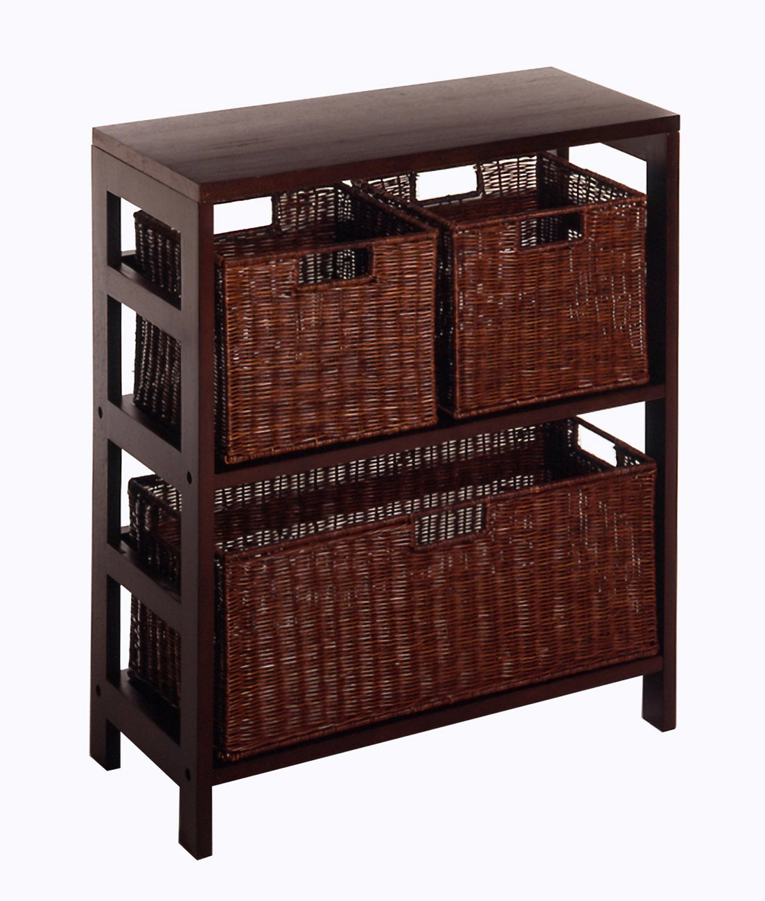 Winsome Wood Leo Wood 3 Tier Shelf with 3 Rattan Baskets - 1 large; 2 small in Espresso Finish