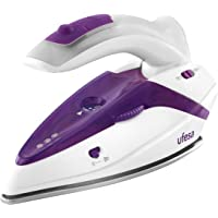 Ufesa PV0500 Activa Plancha de vapor de viaje con mango plegable, 1.100 W máx, bivoltaje 110/230V, color blanco y violeta, Plástico