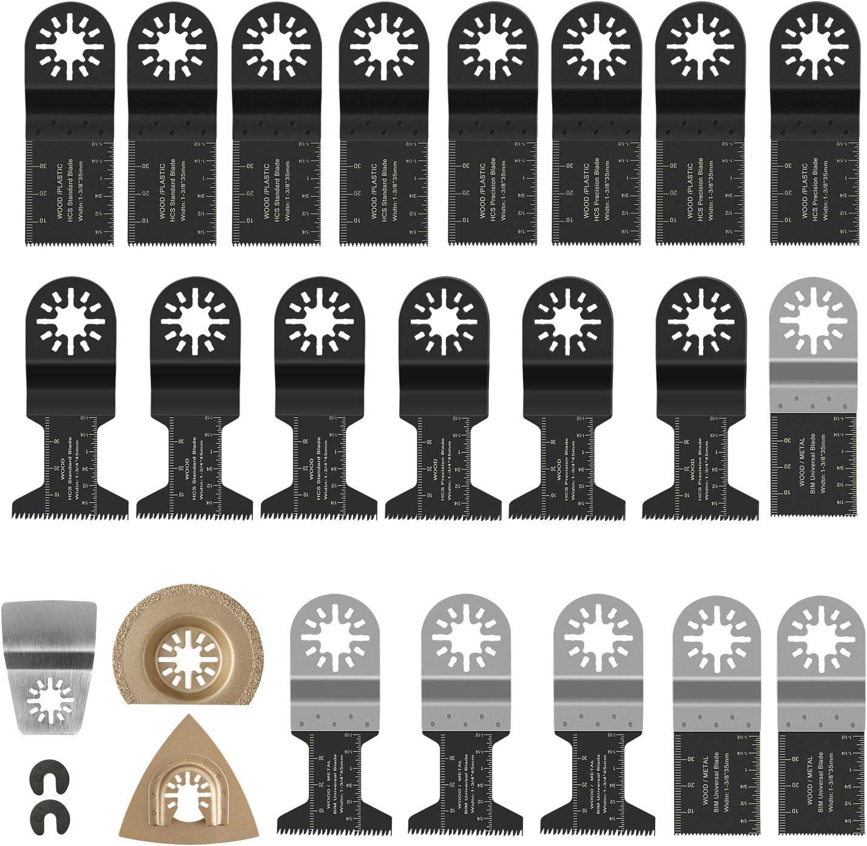 FIXKIT 23 piezas Kit de hojas de sierra Mezcla de cuchillas Herramienta multiuso Herramienta oscilante Accesorios para Fein Multimaster, Milwaukee, Einhell