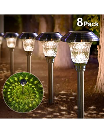 Solar Lights Bright Pathway Outdoor Garden Stake Glass Stainless Steel  Waterproof Auto On/off White