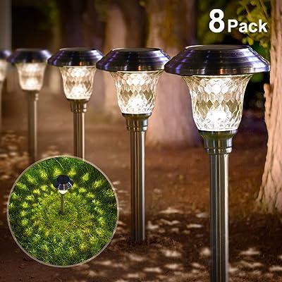 BEAU JARDIN Solar Lights Bright Pathway Outdoor Garden Stake Glass Stainless Steel Waterproof Auto On/off White Wireless Sun Powered Landscape Lighting