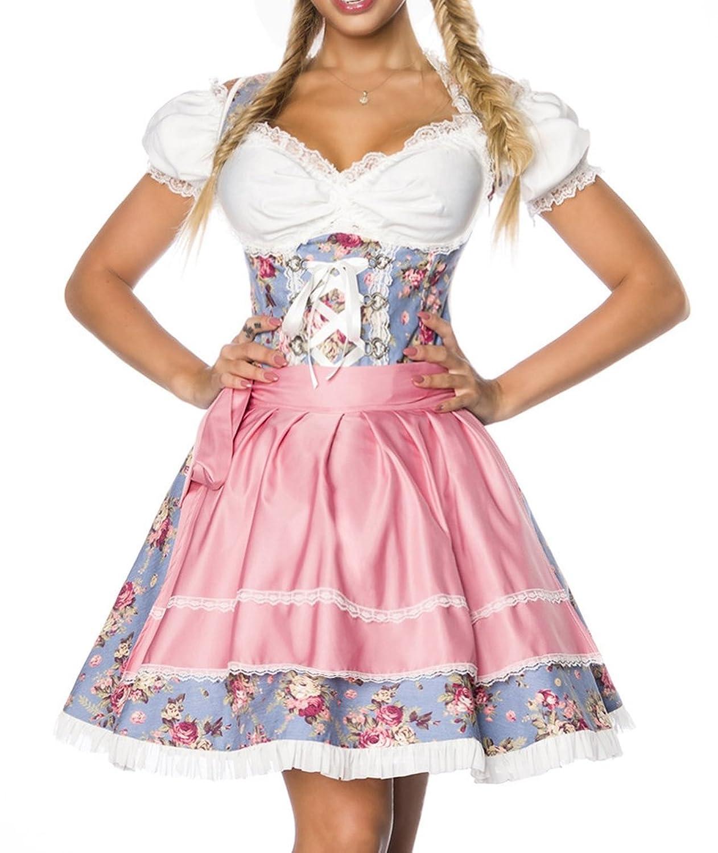Dirndl Kleid Kostüm mit Bluse und Schürze aus Denim Stoff und Spitze Oktoberfest Dirndl blau/rosa/weiß