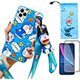 iPhone 11 Pro case with HD Screen Protector, Cute Doraemon Cartoon Anime 3D Character Silicone Cover Case for Apple iPhone 11