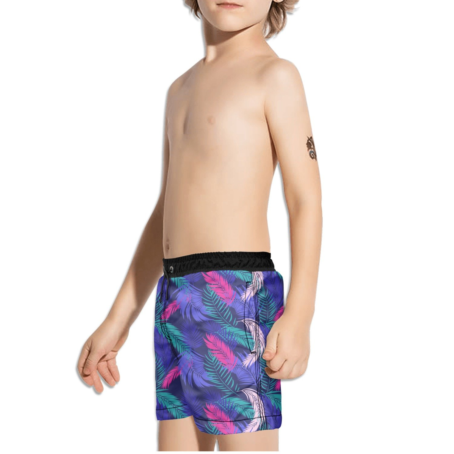 FullBo Tropical Palm Leaves Purple and Pink Little Boys Short Swim Trunks Quick Dry Beach Shorts