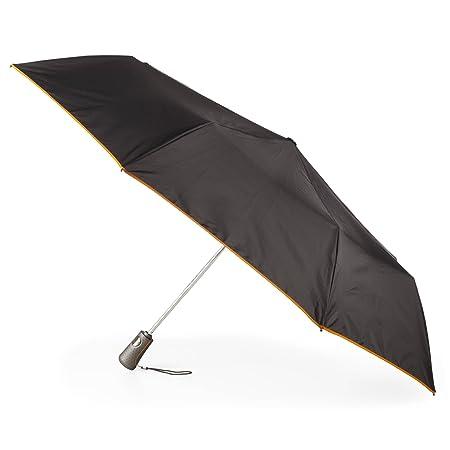 Totes Titan Auto Open/Close Umbrella Super Strong Large 47 arc Black with Orange Trim