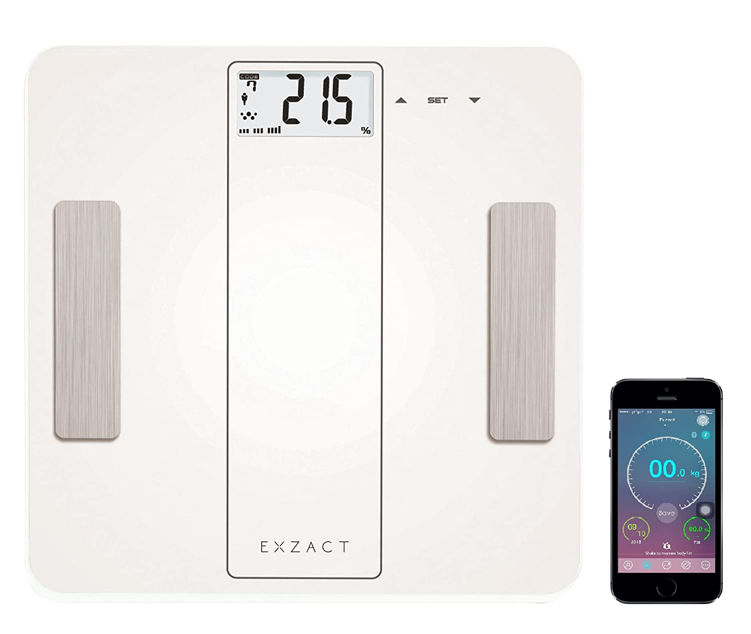 Exzact EX912 Smart Body Analysis Scale - Bluetooth 4.0 For Smart Phones iOS (iPhone) - Body Fat / Body Water / Muscle / Bone - Large Capacity: 180 kg/ 400 lb Digital Bathroom Scale / Electronic Weighing Scale (White) Exerz Limited