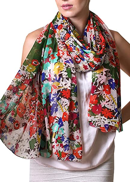 4fca947af Women Emma Colorful Floral Print Scarf, Soft, Lightweight, Sheer, Oversize,  Multicolor at Amazon Women's Clothing store: Fashion Scarves
