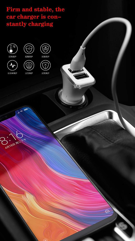 Cable micro USB y cable tipo C incluido QC3.0 Cargador de coche 40W 3.1A con puertos USB QC duales de alta velocidad Adaptador de carga r/ápida Compatible con Galaxy S9 S8 Plus Note8 S7 etc.
