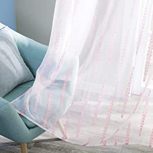 Deconovo Rod Pocket Pink Striped Jacquard Design White Tier Sheer Curtains for Girls Room 52W x 24L 2 Curtain Panels
