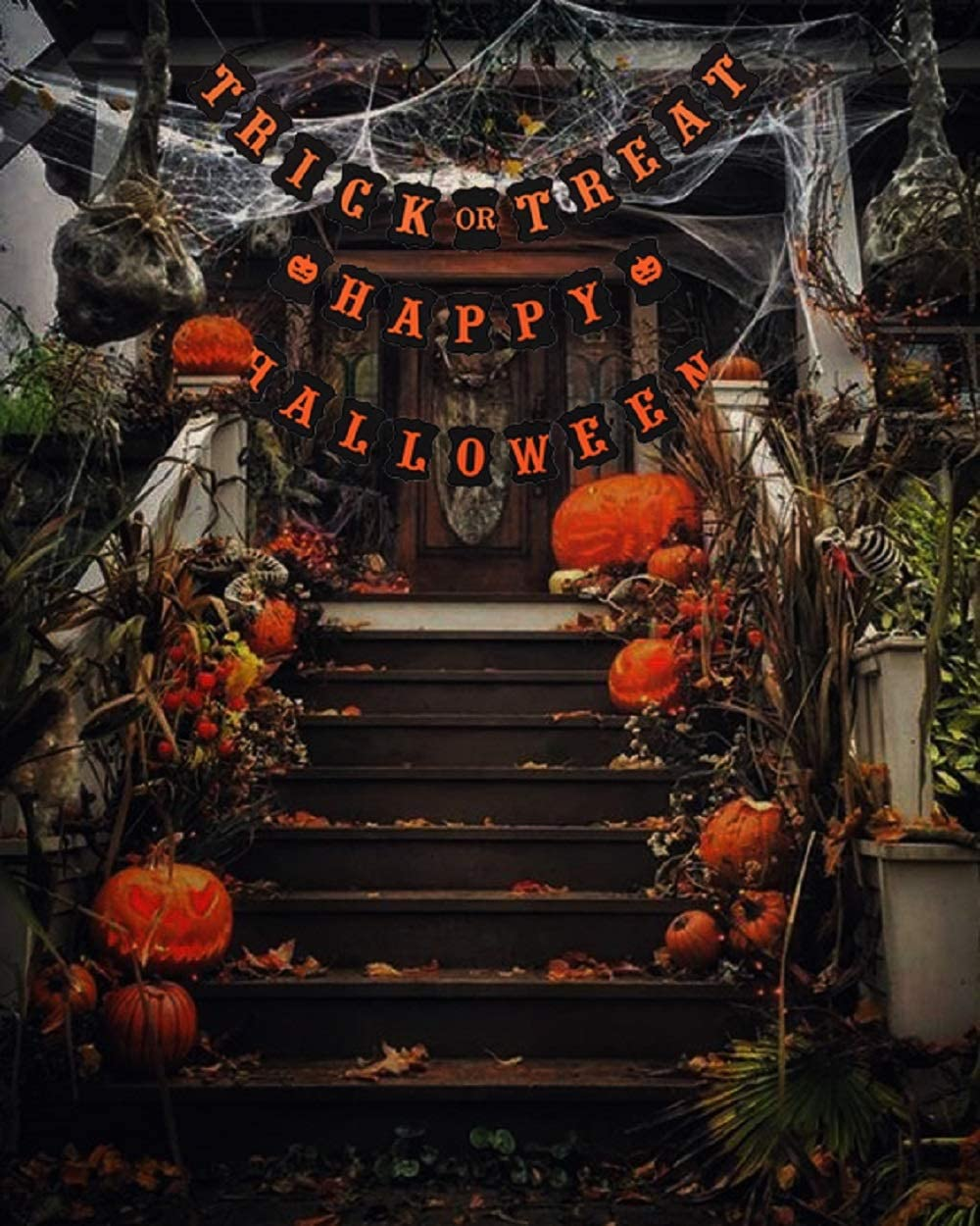LaVenty Set of 2 Trick Or Treat Banner Halloween Home Decor Haunted House Decorations Fall Halloween Party Bunting Rustic Halloween Banner Halloween Decor Halloween Party Sign Halloween Witch Decorations