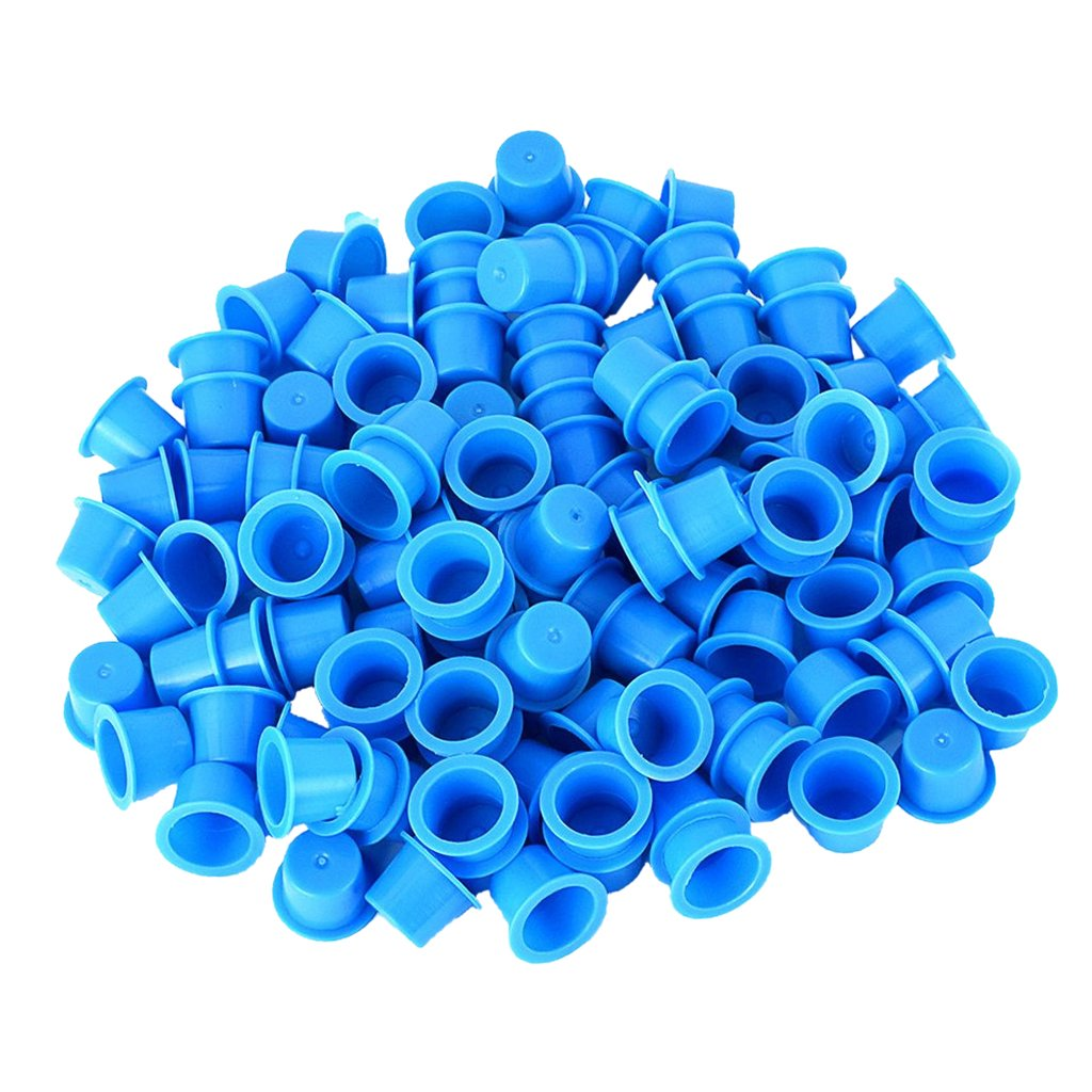 MagiDeal Bulk Lot of 100pcs Disposable Hard Plastic Tattoo Cup Caps Pigment Ink Holder Tools Medium Size for Professional Artist Yellow Blue - Yellow, as described
