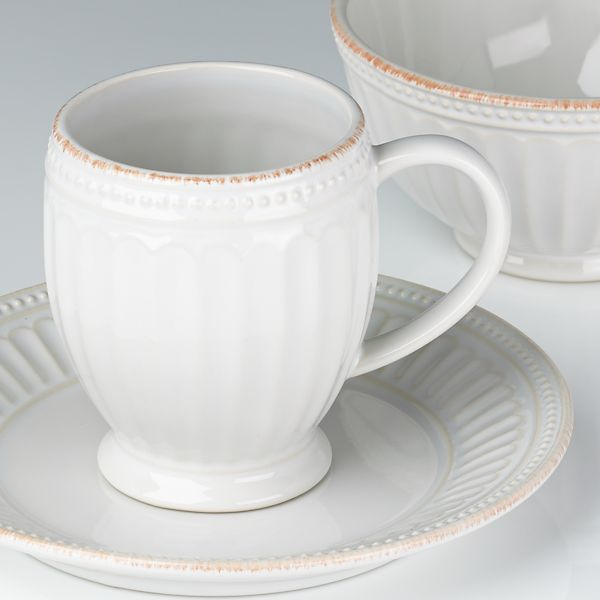 French Perle Groove White 4-piece Place Setting by Lenox