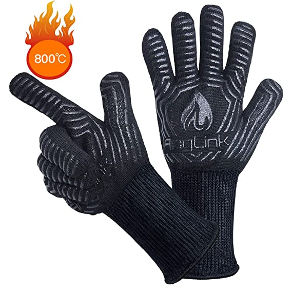 AngLink Grillhandschuhe, BBQ Handschuhe bis zu 800°C 1 Paar Rutschfeste Hitzebeständiger Handschuhe mit Silikon Ofenhandschuh