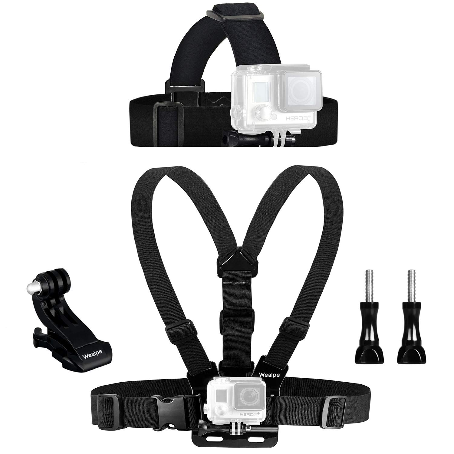 Wealpe Replacement Chest Mount Harness Head Strap Mount Compatible with GoPro Fusion, 6, 5, 4, Session, 3+, 3, 2, 1, Xiaomi Yi Cameras