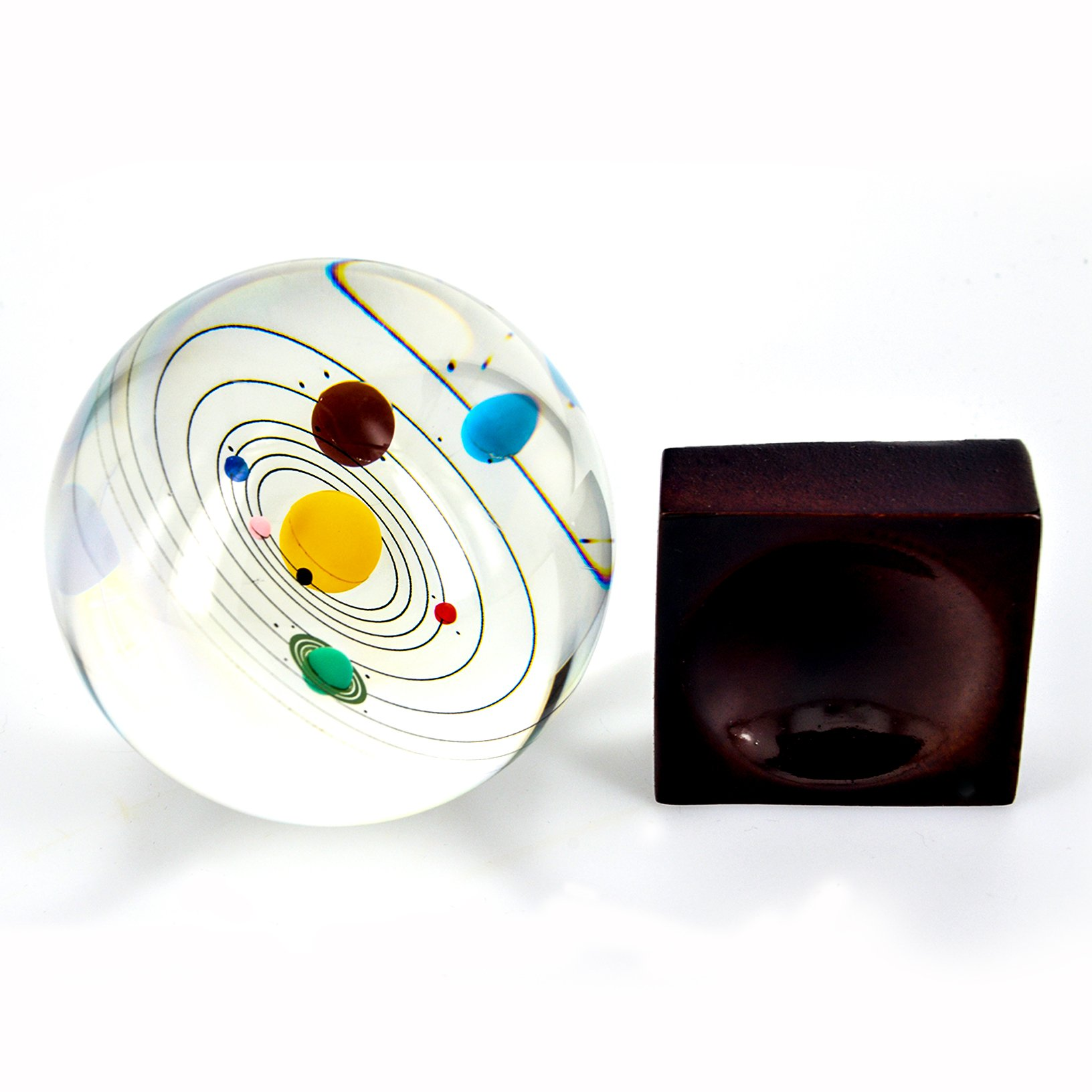 Toyofmine Solar System Clear Crystal Ball 80mm with Wood Stand by toyofmine (Image #3)