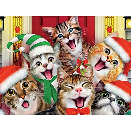 Christmas Selfies Christmas Kitty Selfie At the Front Door  Ceaco 550  Piece Jigsaw Puzzle