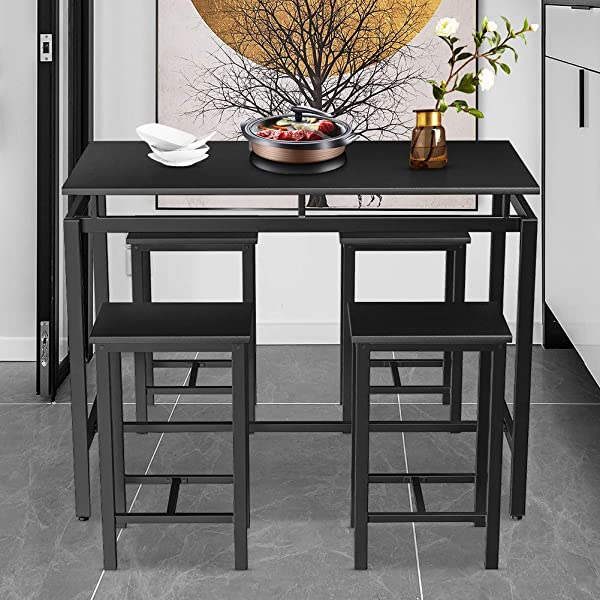 Dining Table and 4 Chairs for 4 People Use Dinner Breakfast ?Coffee Table for Living Room, 47.2'' X 23.6'' X 35''