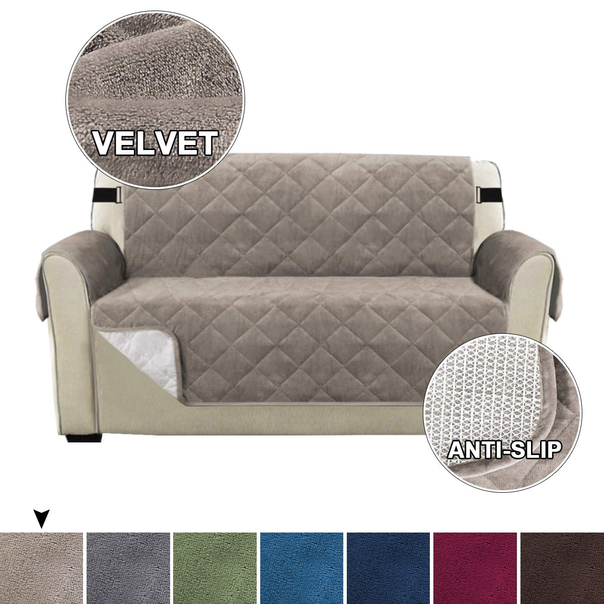 Turquoize Velvet Slip Resistant Loveseat Covers Couch Covers for Dogs Quilted Furniture Protector, Pet Cover for Loveseat, Loveseat Cover for Dogs Couch Slipcover, Machine Washable (Loveseat, Taupe)