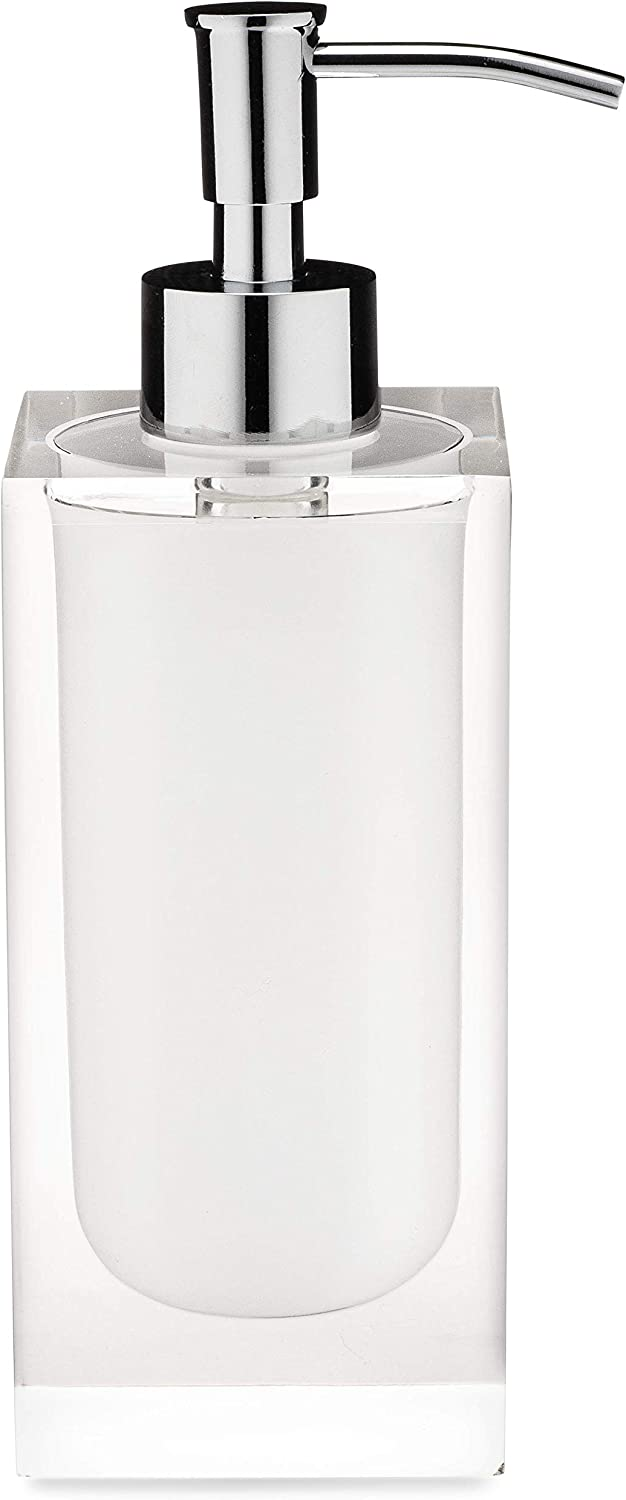 Essentra Home White and Transparent Soap Dispenser from The Cristallino Collection. Features Chrome Metal Pump. Holds 12oz.
