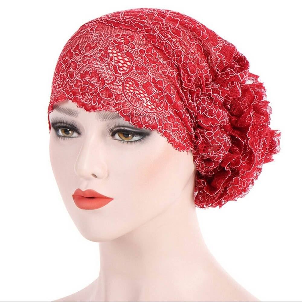 3a7b3cf64f3 Amazon.com  Maonet Womens Winter Hats Dressy Hats Lace Muslim Ruffle Cancer  Chemo Hat Beanie Scarf Turban Head Wrap Cap (Khaki)  Clothing