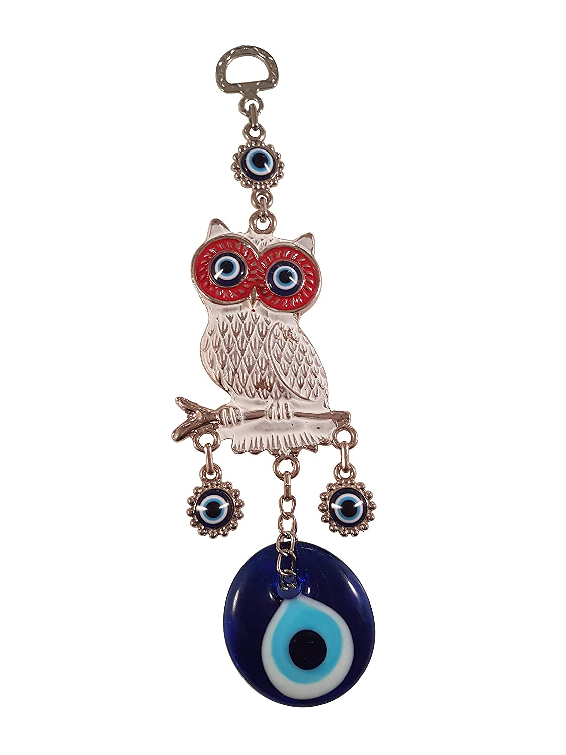 Metal Home Decor Turkish Amulet Bead Global Turkish Glass Blue Evil Eye Wall Hanging Owl Ornament Protection and Good Luck Charm Gift Red
