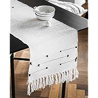 Moroccan Fringe Table Runner 14 X 72 in, KIMODE Bohemian Geometric Cotton Woven Tufted Tassels Macrame Farmhouse Dinning…