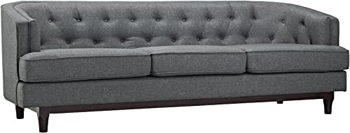 Modway Coast Fabric Upholstered Contemporary Modern Sofa, Gray