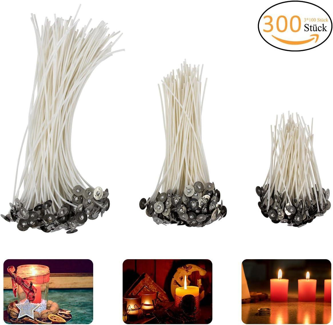 Madholly 300 Velas, mecha de vela en 3 tamaños diferentes (90 mm, 150 mm y 200 mm) para la fabricación de velas, vela DIY …