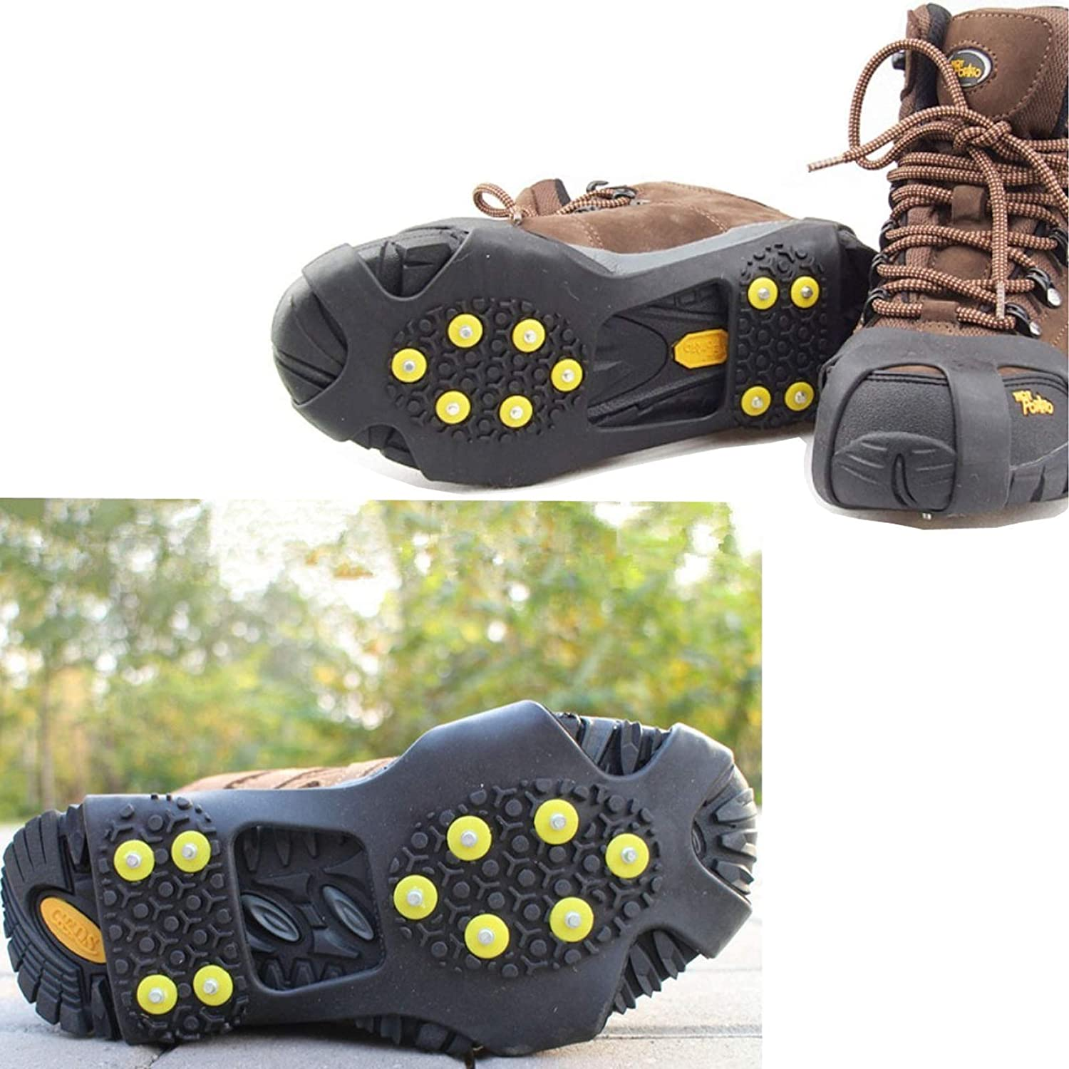 NEEBAO Ice Shoes Grippers Cleats for Shoes,Ice Snow Grips Traction Cleats for Men//Women//Kids,Anti-Slip Ice Shoes Covers for Boots