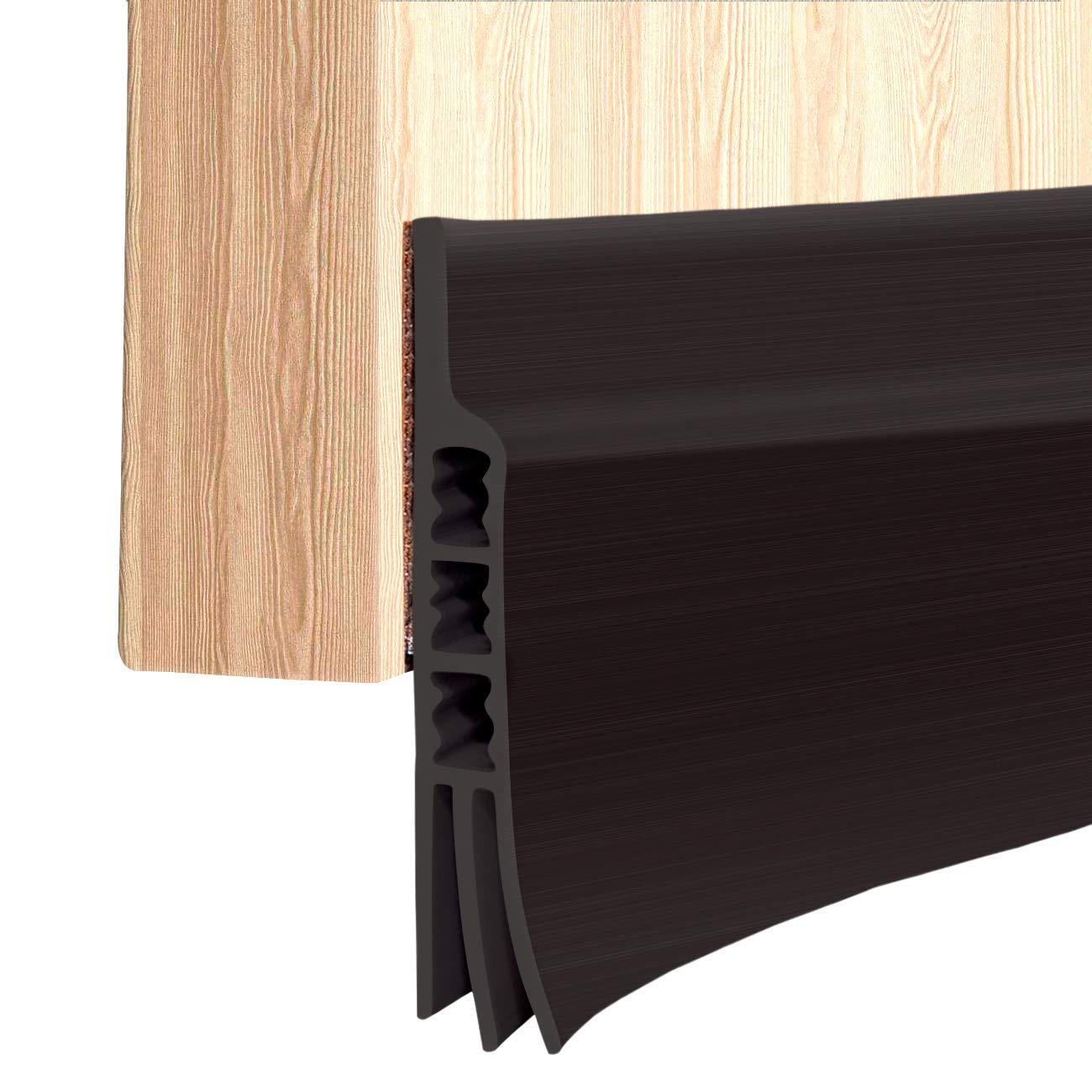 Door Sweep Block Dust 39 L x2 W Black Door Strip for Soundproof Under Door Draft Blocker Door Under Seal Wind Blocker Ohuhu Door Draft Stopper