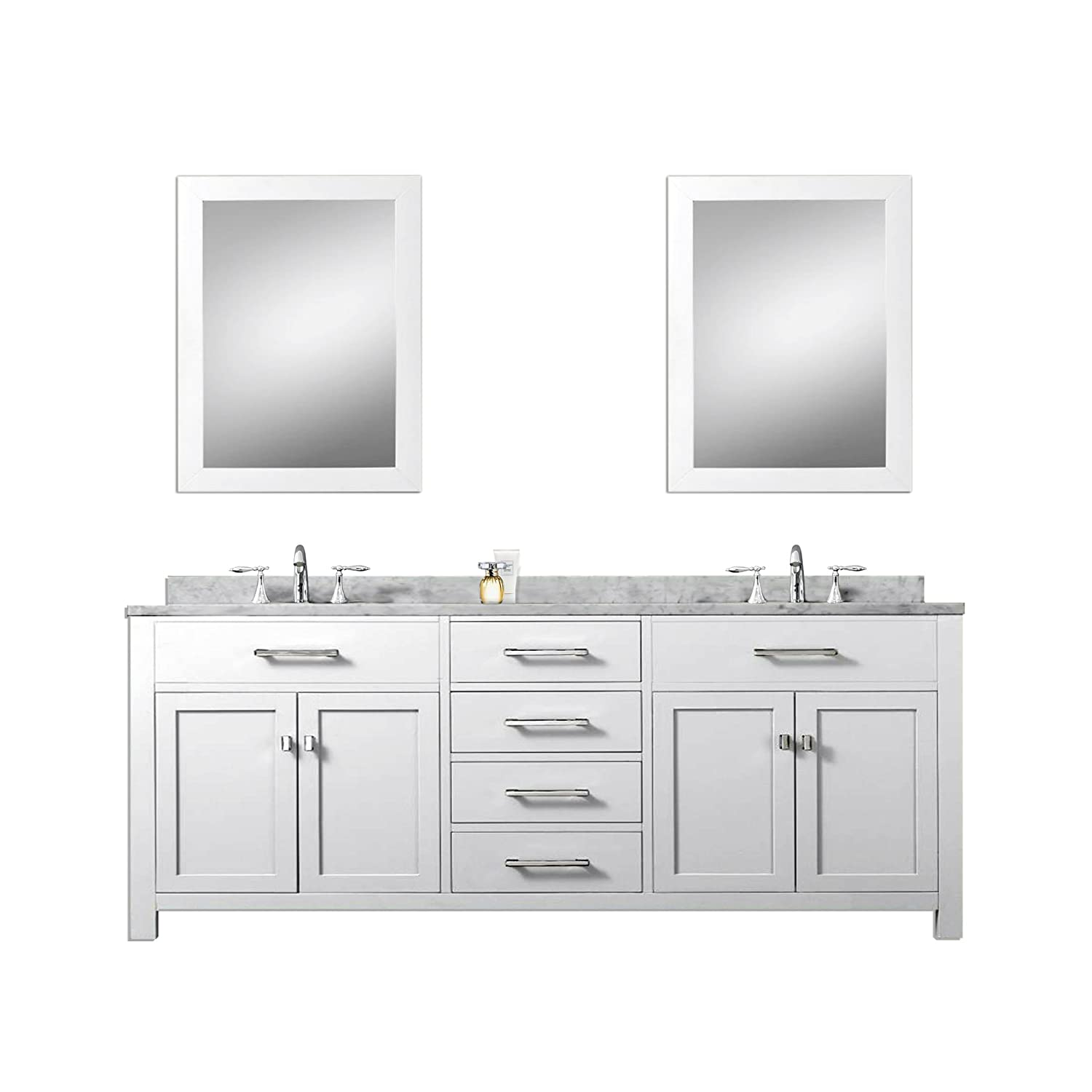 Water Creation Madison 72wc 72 Inch Solid White Double Sink Bathroom Vanity With 2 Matching Framed Mirrors Amazon Com
