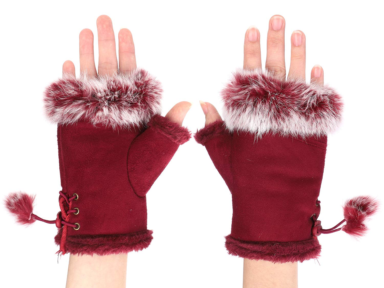 QCHOMEE Mittens Winter Woman Girl Gloves Half Finger Faux Fur Thick Warm Mittens Handle Adjustable Heating Gloves Comfortable for Car Bike Motorcycle Racing Birthday