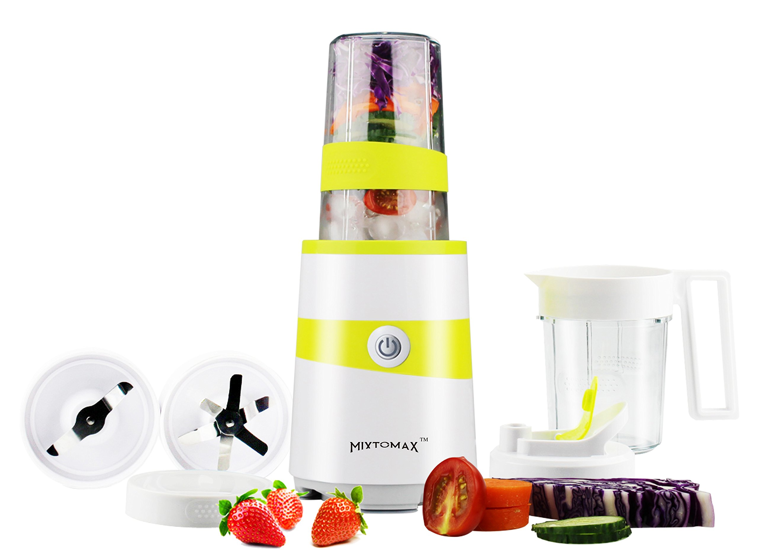 MixtoMax High Speed Smoothie Blender Multifunctional Mixer 1000W Compact and High-Power with 2 BPA Free Cups and 2 Stainless Steel Blades for Extracting and Milling …