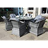 Luxury Grey Rattan 6 Seat Oval Dining Set Garden or Conservatory Furniture