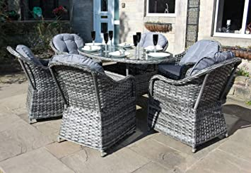 PKL Leisure Luxury Grey Rattan Seat Oval Dining Set Garden Or - 6 seat oval dining table
