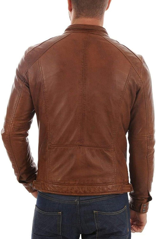 Mens Lambskin Leather Jacket Motorcycle Genuine Biker Real Custom Made MJF05