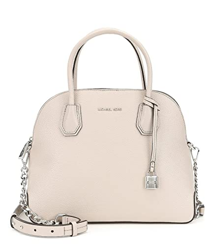 7f29ba2b804e Image Unavailable. Image not available for. Color: Michael Kors Studio  Mercer Dome Large Pebbled Cement Gray/Silver Leather Satchel Bag New