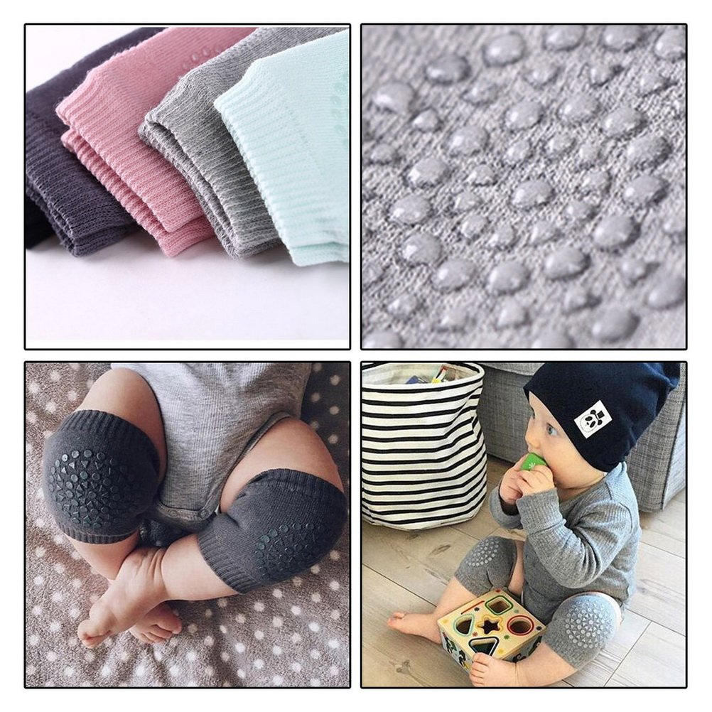 Kuou 5 Pairs Baby Knee Pads Crawling Safety Leg Warmers Baby Knee Protectors with Rubber Dots for 0-24 Months Adjustable Elastic Baby Crawling Knee Pads Infant Toddler Anti-Slip Knee