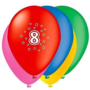 Unique Party- Globos Perlados de Látex para Cumpleaños Número 8, Paquete de 5, 30 cm (80208)