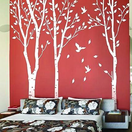 Amazon.com: Maribeatty Set of 3 Birch Trees with Flying Birds Wall ...